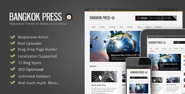 دانلود قالب وردپرس خبری Bangkok Press v1.15 WordPress Theme قالب های مدیریت محتوا قالب وردپرس