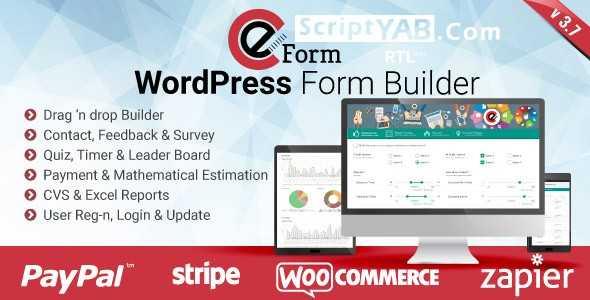 دانلود افزونه فرم ساز ویژه وردپرس eForm v3.7.5 Form Builder افزونه پلاگین وردپرس افزونه های مدیریت محتوا