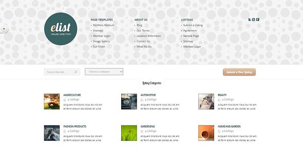 دانلود پوسته دایرکتوری وردپرس eList Directory Theme قالب های مدیریت محتوا قالب وردپرس