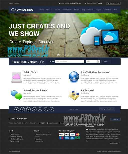 دانلود قالب هاستینگ به صورت HTML بنام NewHosting Web Template اخبار سایت