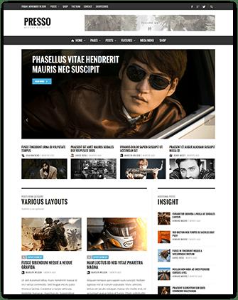 دانلود قالب پیشرفته مجله خبری وردپرس PRESSO v3.2.2 قالب های مدیریت محتوا قالب وردپرس