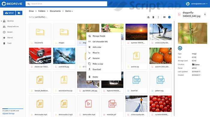 اسکریپت بی درایو – اشتراک گذاری فایل
