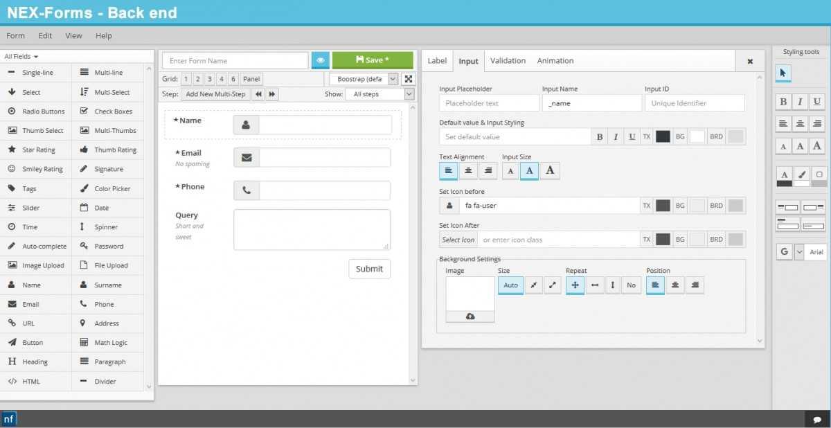 تصویری از محیط افزونه NEX Forms v6.7.3