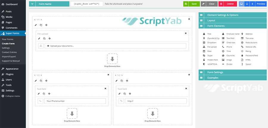 محیط ایجاد فرم در افزونه فرم ساز Super Forms افزونه وردپرس