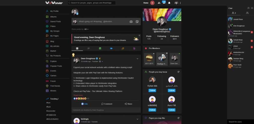 اسکریپت شبکه اجتماعی حرفه ای WoWonder (صفحه اصلی)