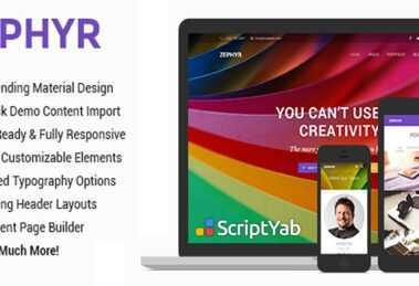 دانلود قالب چند منظوره وردپرس پیشرفته Zephyr | Material Design Theme