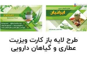 طرح لایه باز کارت ویزیت عطاری و گیاهان دارویی رنگ سبز