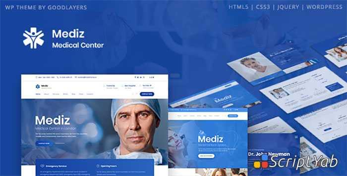 دانلود قالب پزشکی وردپرس Mediz - قالب تخصصی کلینیک پزشکی