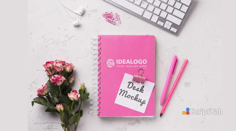 دانلود طرح لایه باز دفتر یادداشت روی میز - موکاپ فتوشاپ