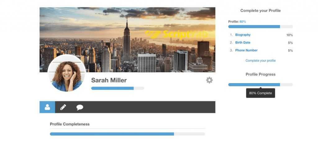 پیش نمایش افزونه Profile Completeness نمایش تکمیل پروفایل