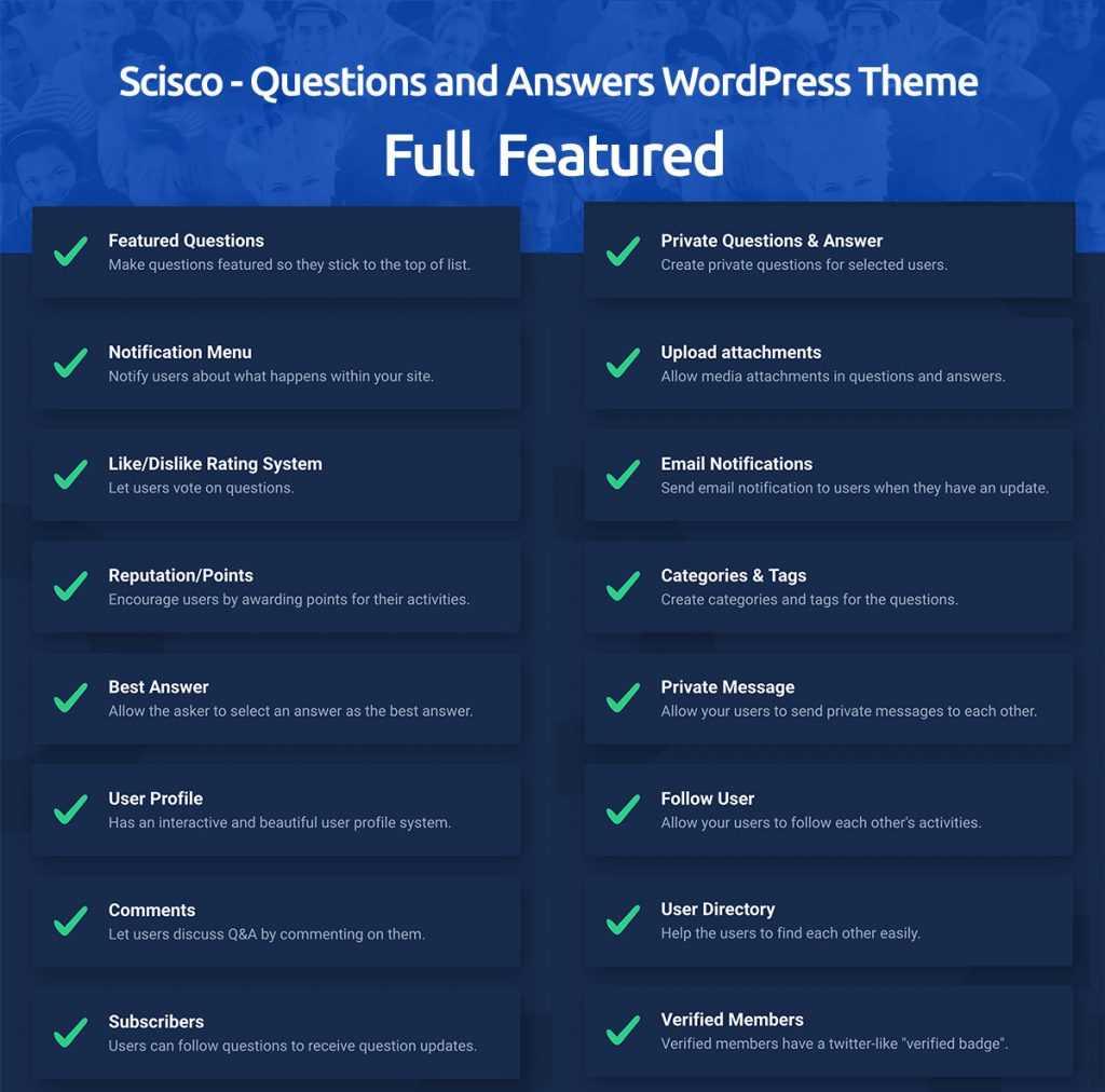 ویژگیهای قالب پرسش و پاسخ وردپرس Scisco