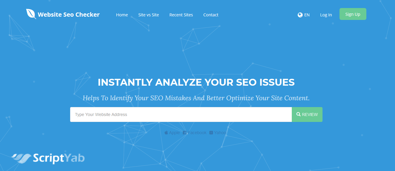 اسکریپت بهینه سازی و سئو سایت در موتورهای جستجو Website SEO Checker